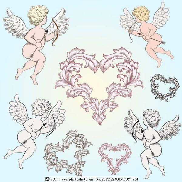 丘比特免费下载 爱神 剪影 丘比特 矢量素材 天使 爱神 丘比特 矢量