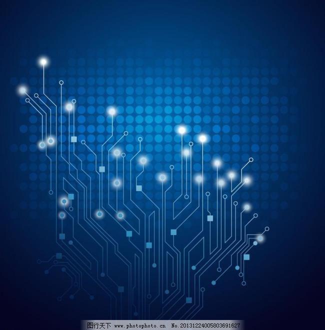 蓝色科技背景 背景底纹矢量素材 底纹背景 电路 电路板 工业生产