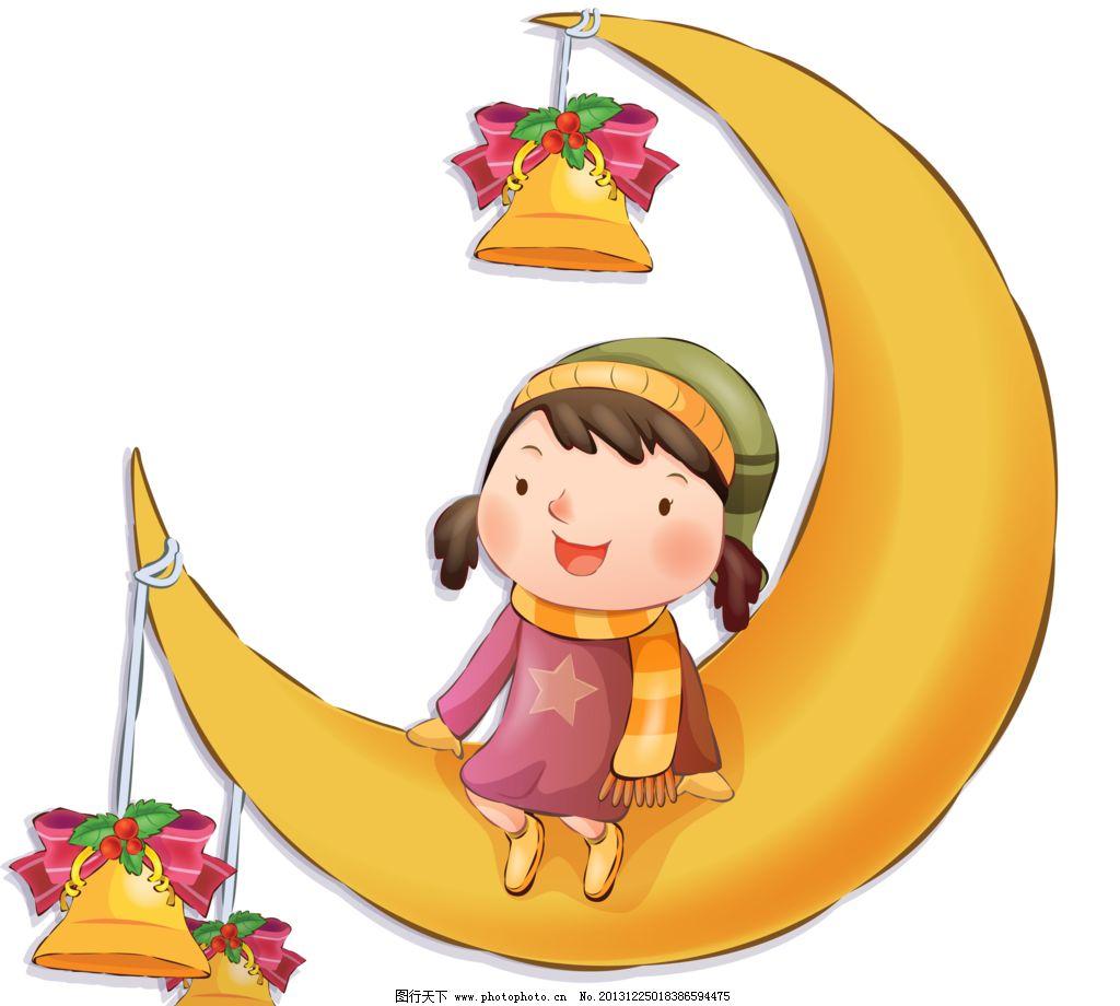 手绘月亮 月亮花纹 手绘花纹 月亮 天使 小女孩 卡通 铃铛 花纹 精美