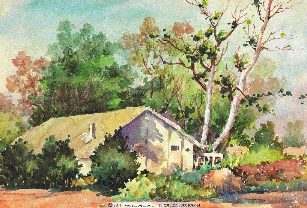 林中农家 美术 水彩画 风景 树林 房屋 水彩画艺术 绘画书法 文化艺术