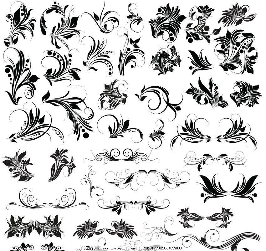传统花纹 装饰花纹 欧式 古典 花纹 花边 花朵 边角 花卉 角花 线条