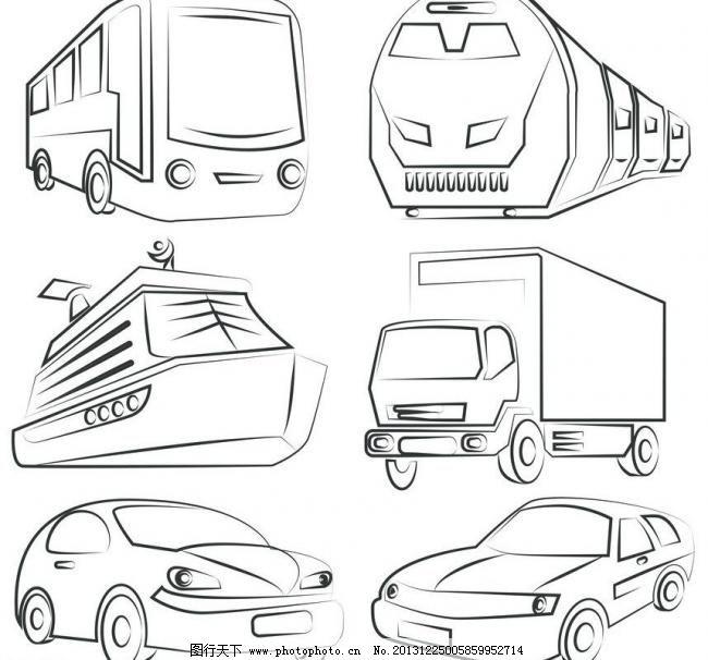货车 商务车 素描 线条 漫画汽车 漫画 手绘 时尚 梦幻 矢量 交通工具
