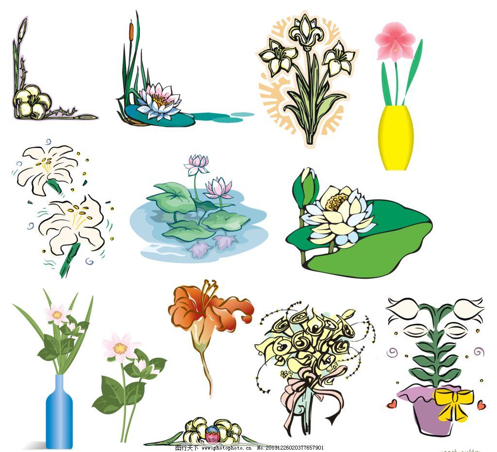 花盆 花瓶 荷花 荷叶 百合移门 百合图案 手绘花纹 精美花纹 手绘花朵