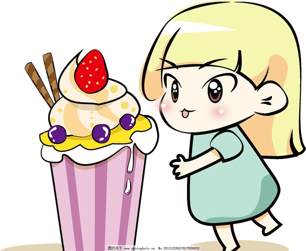吃冰淇淋简笔画-吃开心