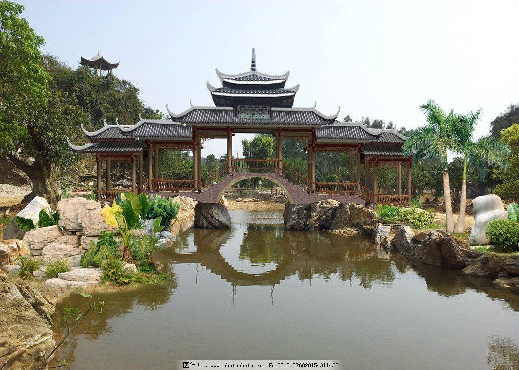 园林景观 苗楼走廊 古典建筑 树木素材 湖泊 景观设计 环境设计 源