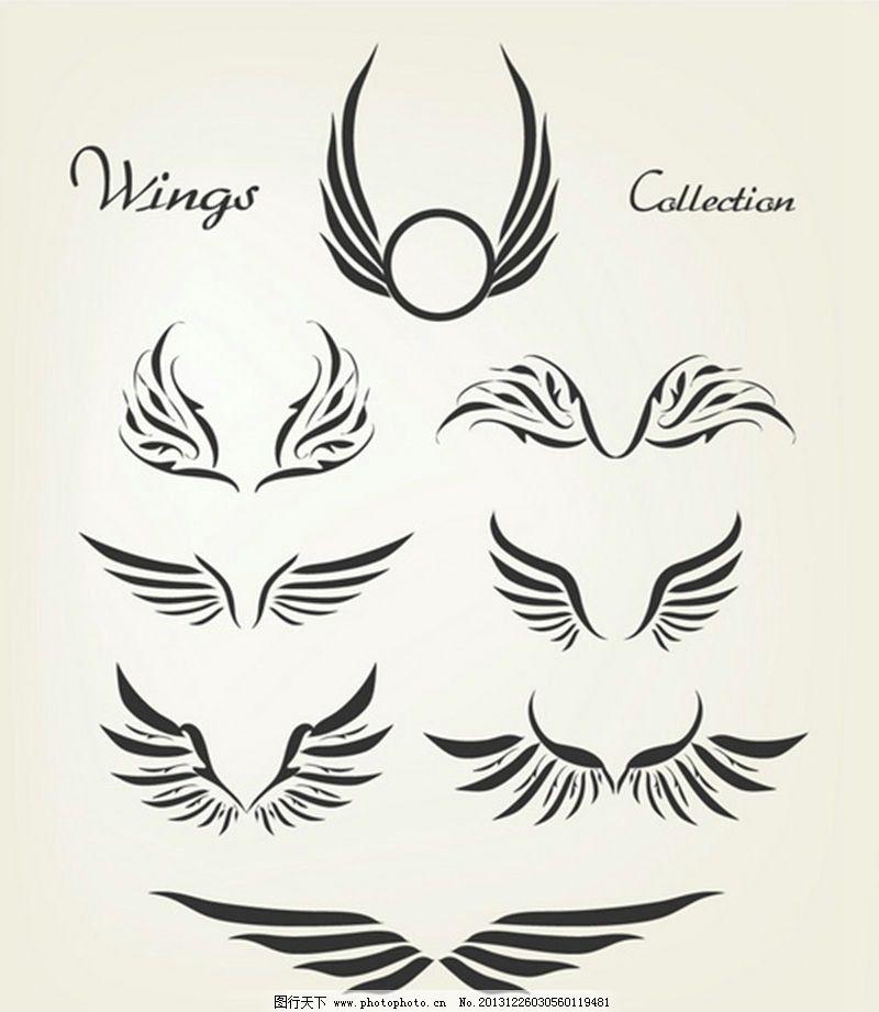 宗教 基督教 纹身图案 广告-可爱超萌天使简笔画 一半天使恶魔翅膀