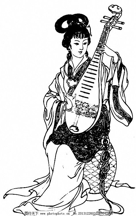 弹琵琶 古画 古代美女 古代女性 四大美女 其他设计 广告设计 矢量 ai