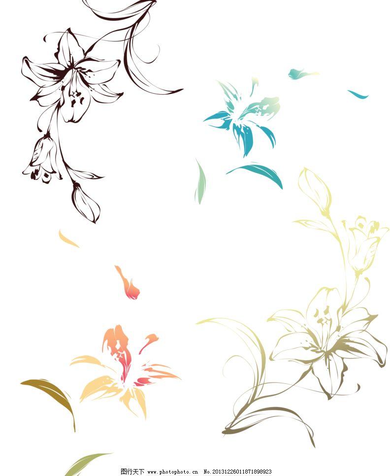 百合图案 蓝百合 黄百合 手绘花纹 精美花纹 手绘花朵 移门花纹 欧式