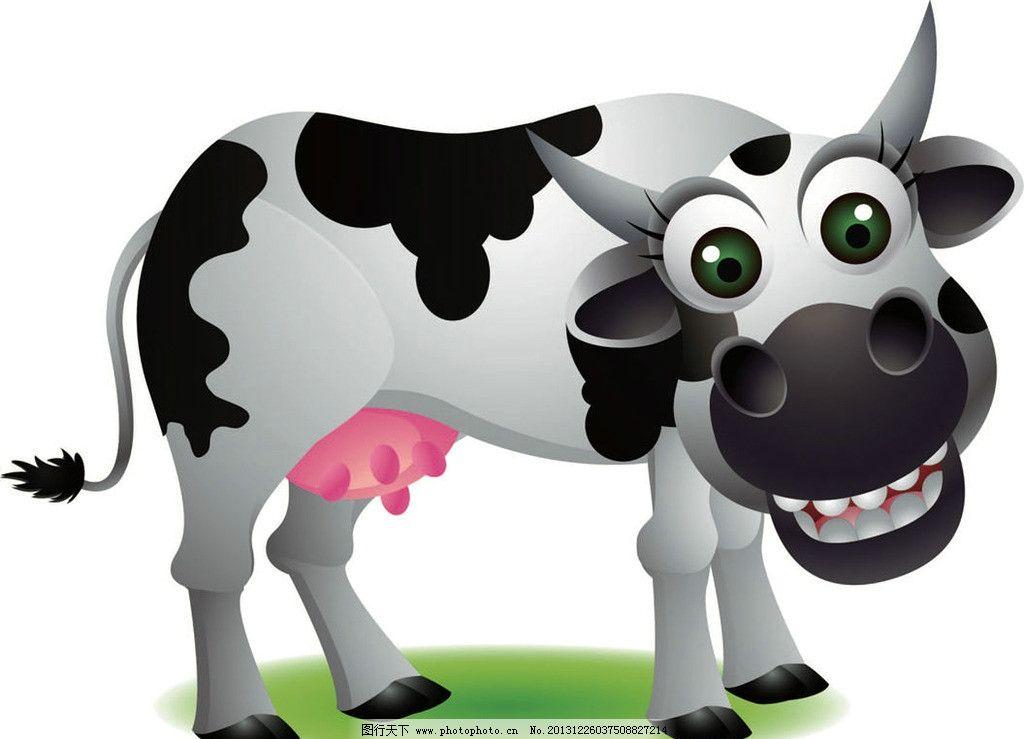 奶牛卡通动物 奶牛 卡通动物 动画片 儿童 通话 可爱 小动物 野生动物