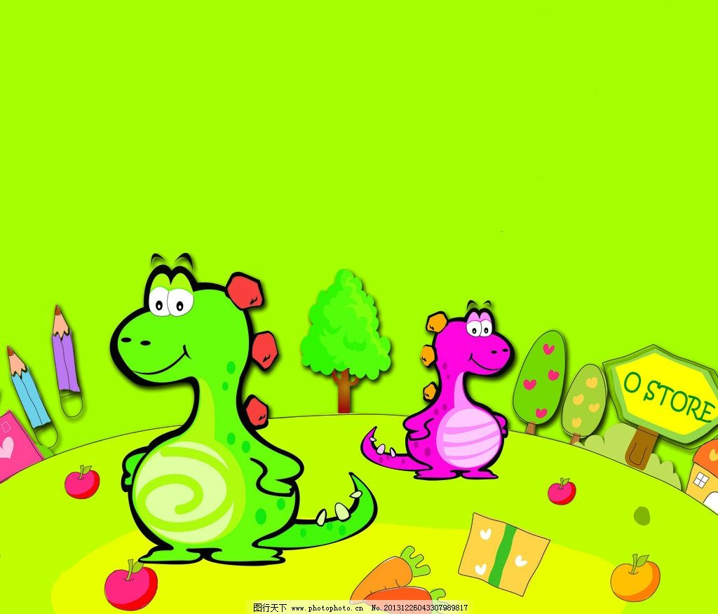 ppt 可爱恐龙