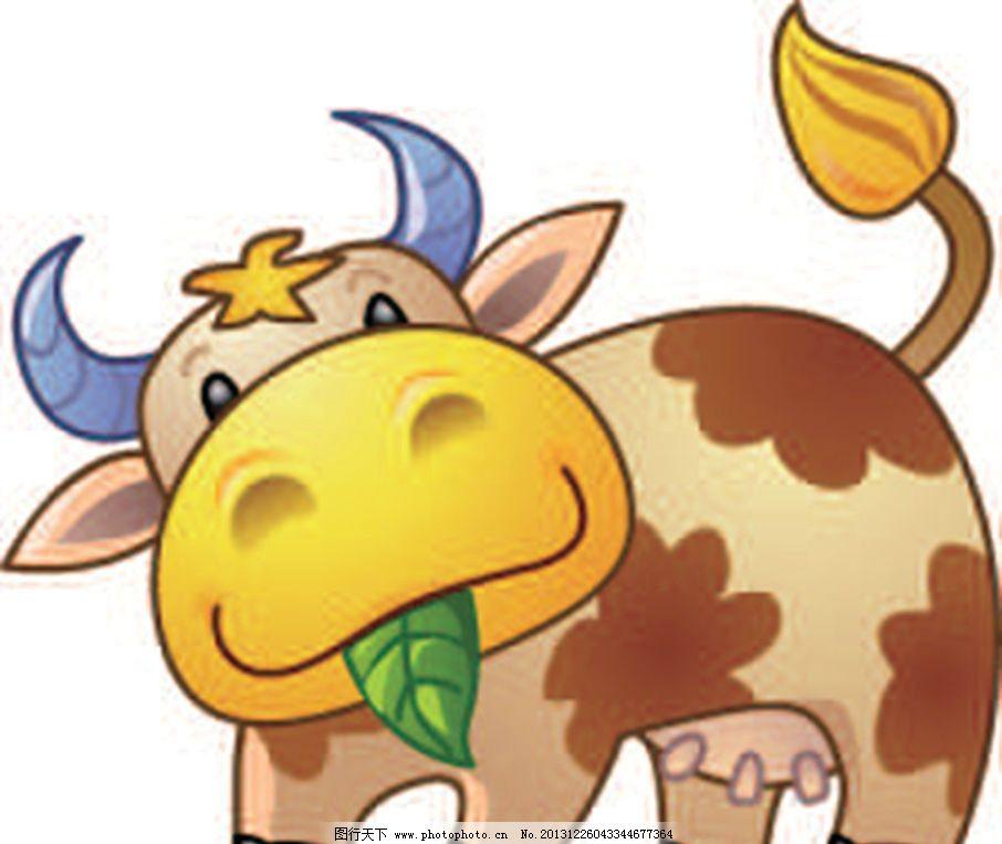 老牛 黄牛 老牛吃草 卡通动物 动画片 儿童 通话 可爱 小动物