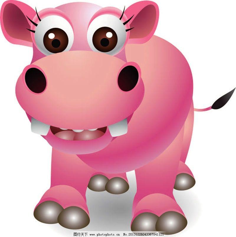 河马卡通动物 老牛 动画片 儿童 通话 可爱 小动物 野生动物