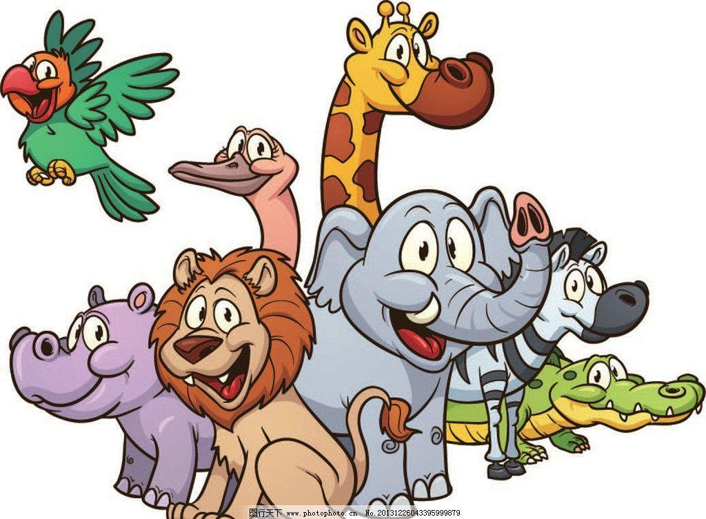 长颈鹿 小鸟 鹦鹉 河马 狮子 鳄鱼 动画片 儿童 通话 可爱 小动物