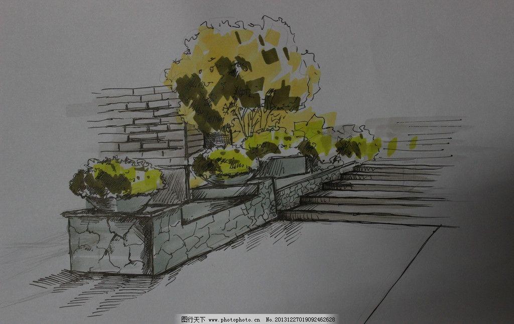 手绘植物台阶 手绘 台阶 植物 灰色 马克笔 绘画书法 文化艺术 设计
