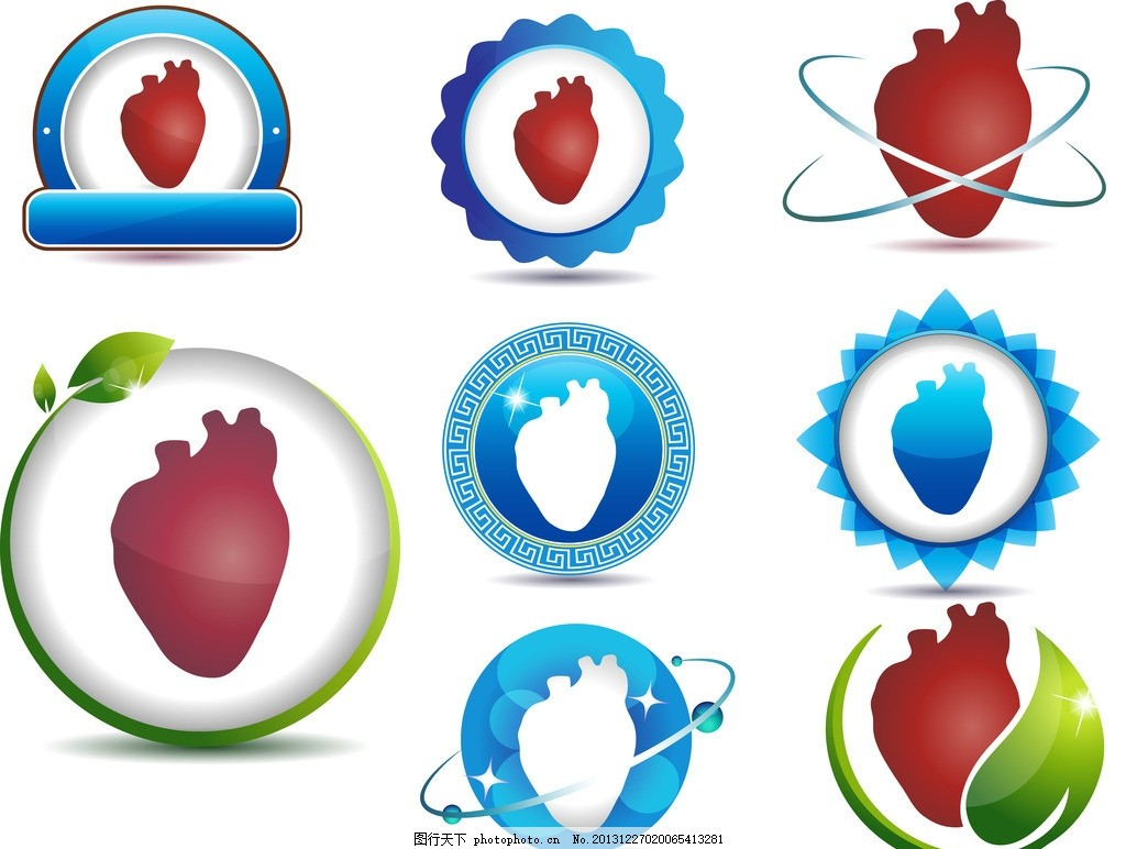 心脏图标,绿叶 标志 图标图标 创意设计 商务 商业-图图片