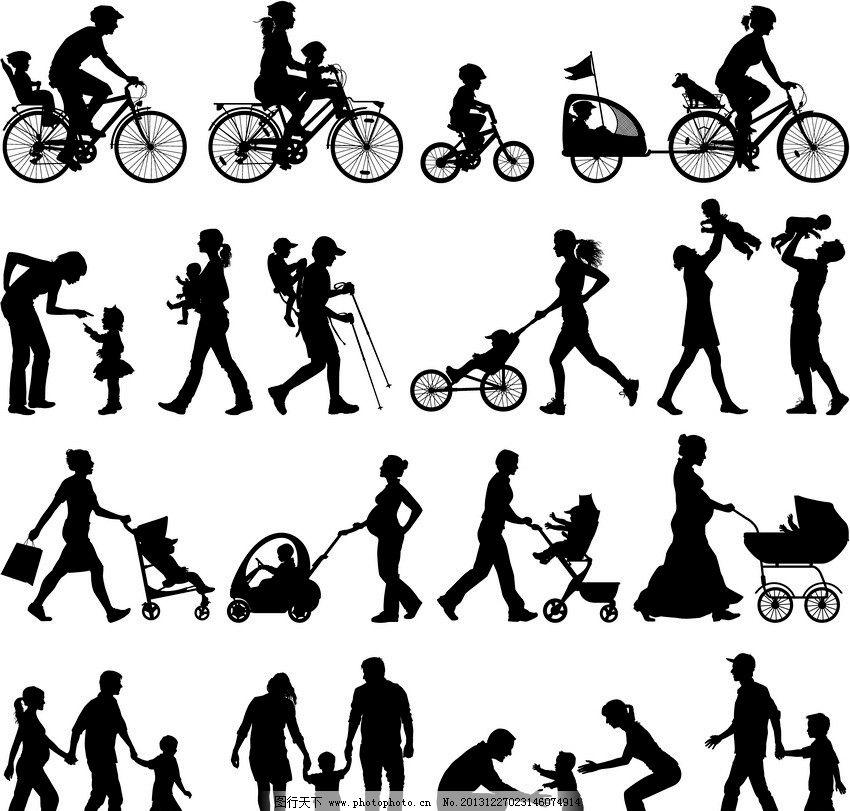 家庭剪影 家庭 一家人 爸爸 妈妈 婴儿 宝宝 幼儿 儿童 孩子 骑自行车