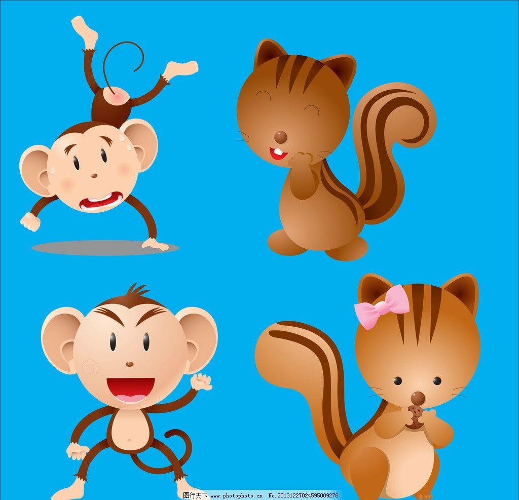 可爱矢量小动物小猴子边框图案图片下载 早教贴画 幼儿园贴图 时尚