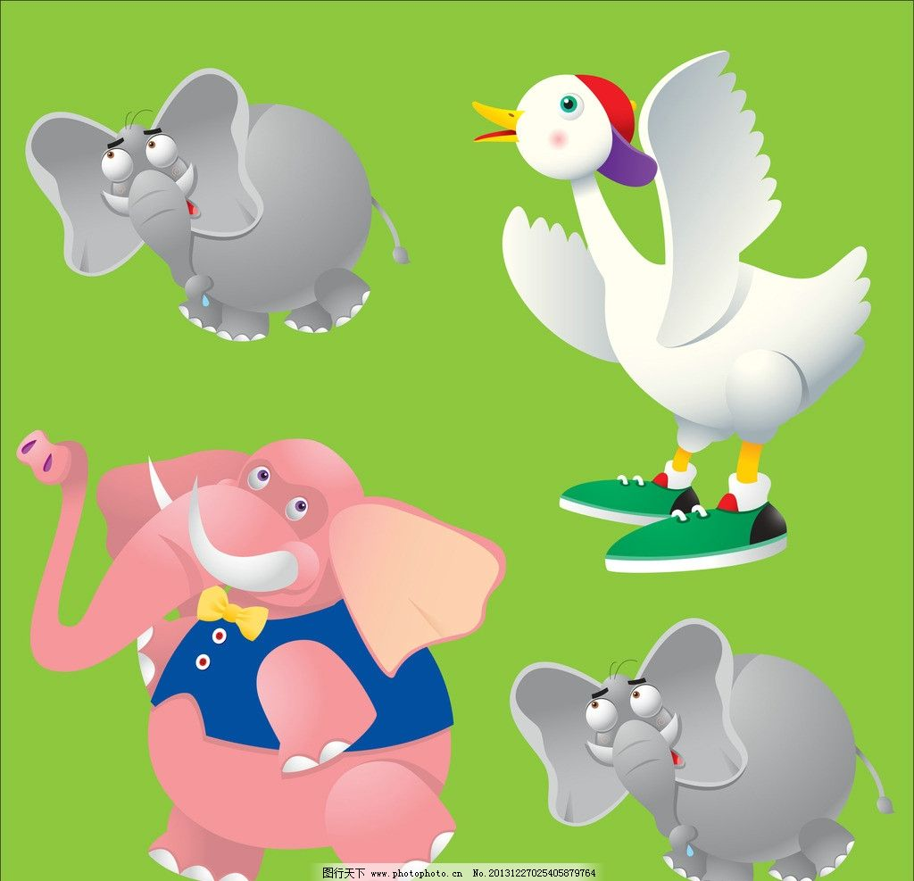 大象 天鹅 动物 小动物 动物世界 广告设计 矢量设计 其他生物