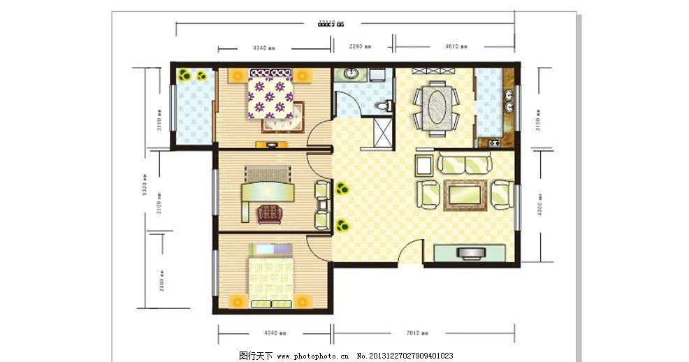 室内平面图 桌子 床 门 阳台 地板 电视机 植物        家具 室内设计