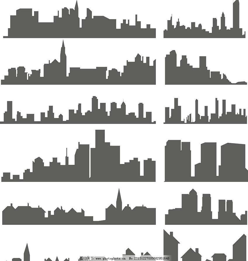 城市建筑 城市建筑剪影 大厦 都市 都市剪影 城市建筑剪影矢量素材