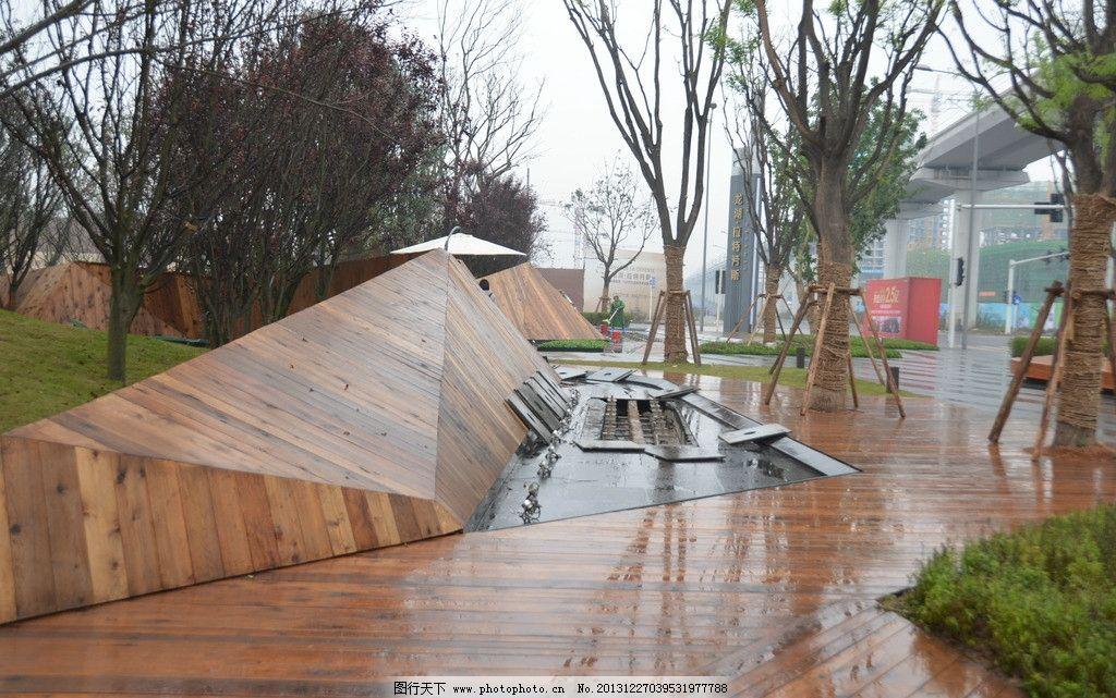 龙湖拉特芳斯 龙湖新城市 实景照片 入口景墙 入口广场 旱喷 园林建筑