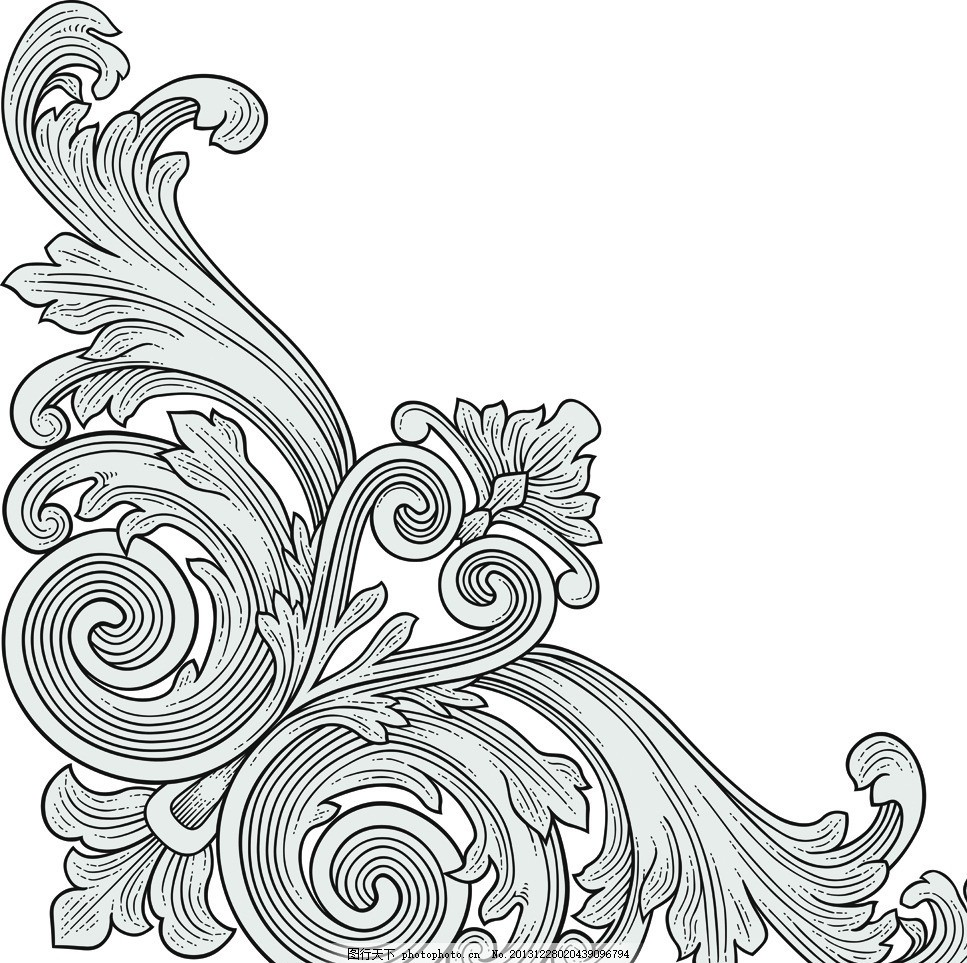 欧式花纹 欧式 花纹 手绘 线条 角花 建筑装饰花纹 植物花纹