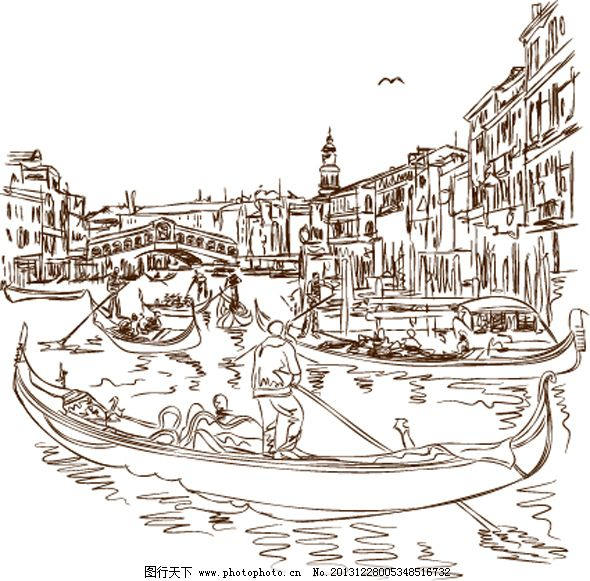 手绘城市 手绘城市免费下载 楼房 线条 小船 矢量图 广告设计