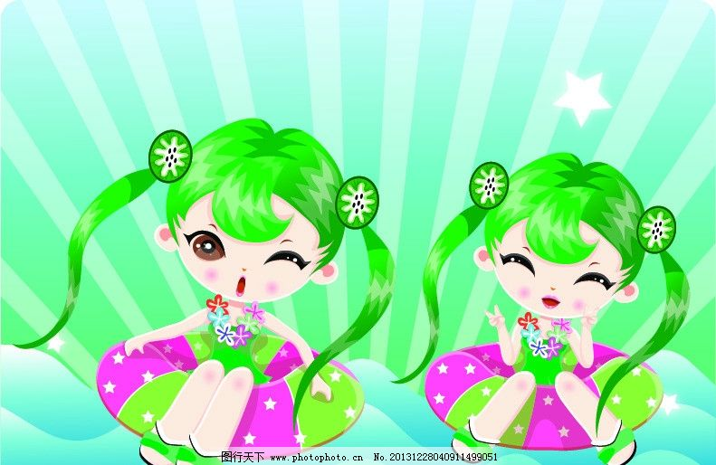 绿头发女孩 卡通 漫画 女孩 动漫人物 可爱 儿童幼儿 矢量人物 矢量