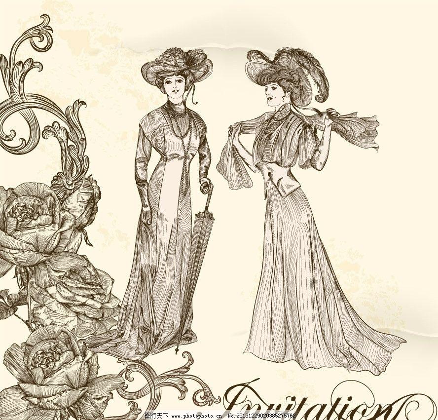 复古手绘女婚纱图片