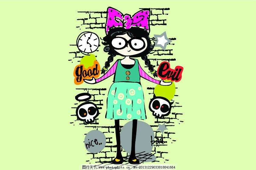 卡通女孩 小女孩 女孩 可爱女孩 卡通人物 人物矢量 骷髅头 小怪兽