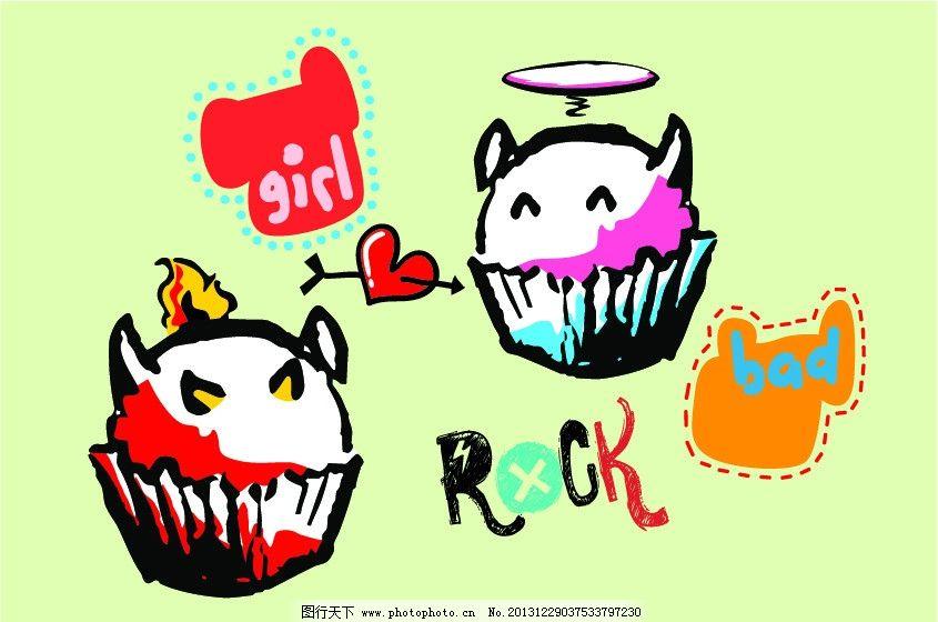甜点 点心 冰激凌 怪物 小怪兽 卡通画 时尚插画 卡通插画 古典背景图片
