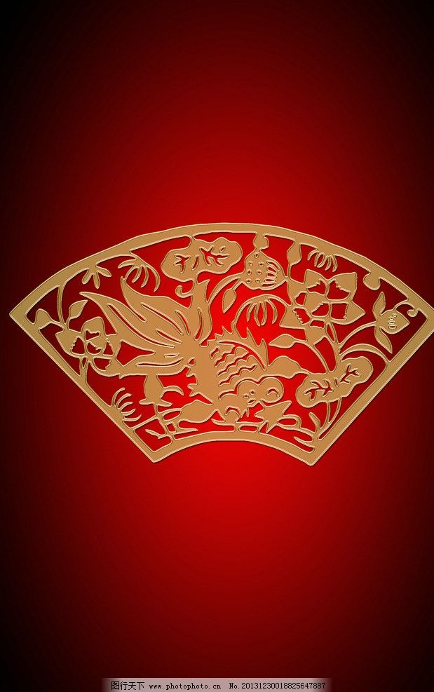 年年有鱼 壁画 玻璃画 年画 红色背景 传统文化 文化艺术 设计 100dpi