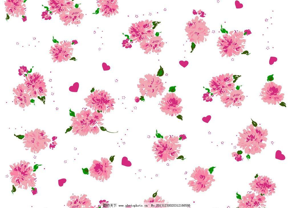 牡丹花爱心印花布图片