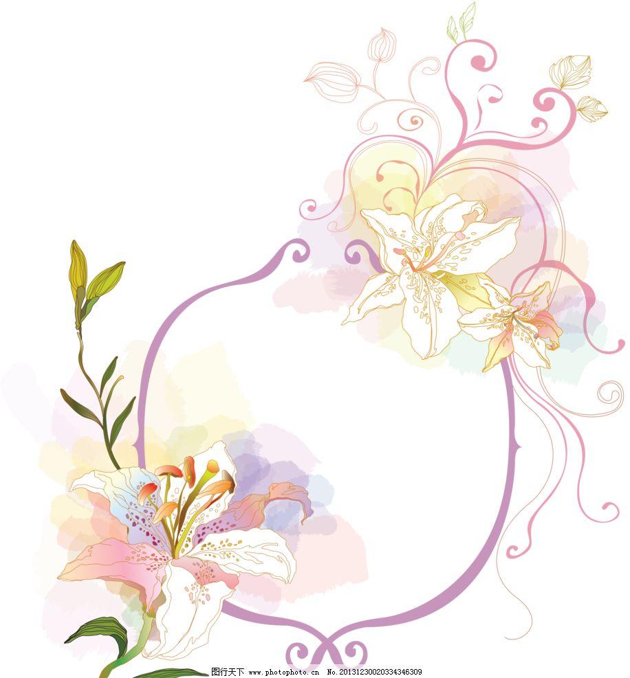手绘边框 百合边框 花卉边框 百合花 花朵边框 创意 花纹 背景 底纹