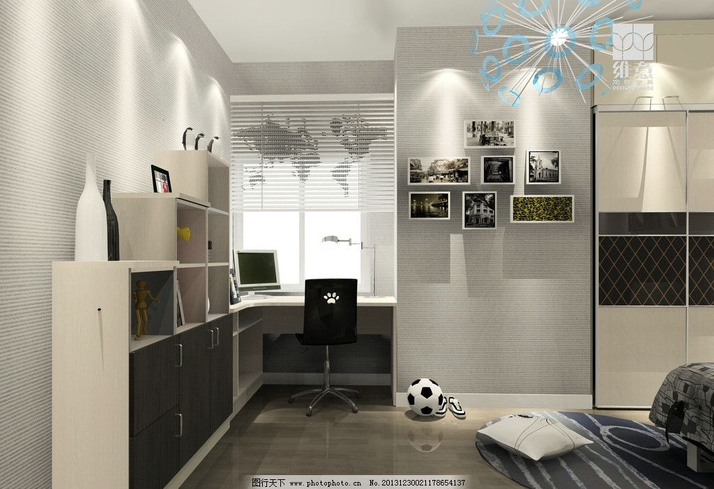 室内设计 书柜 写字台 地板 家装 家具 灯光 衣柜 3d家装中式效果图