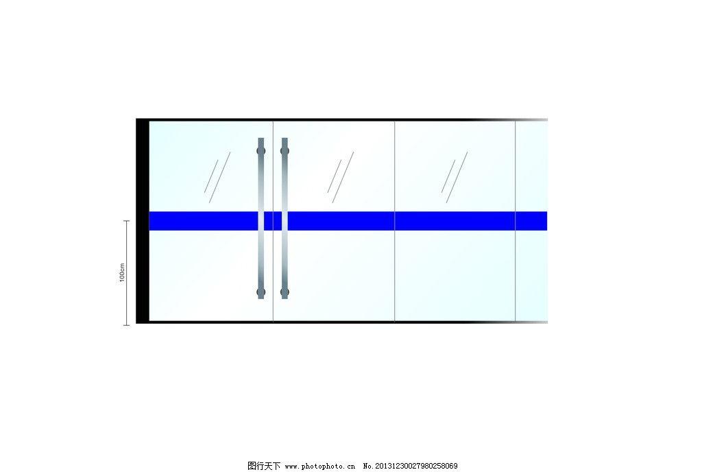 简单玻璃门平面图画法