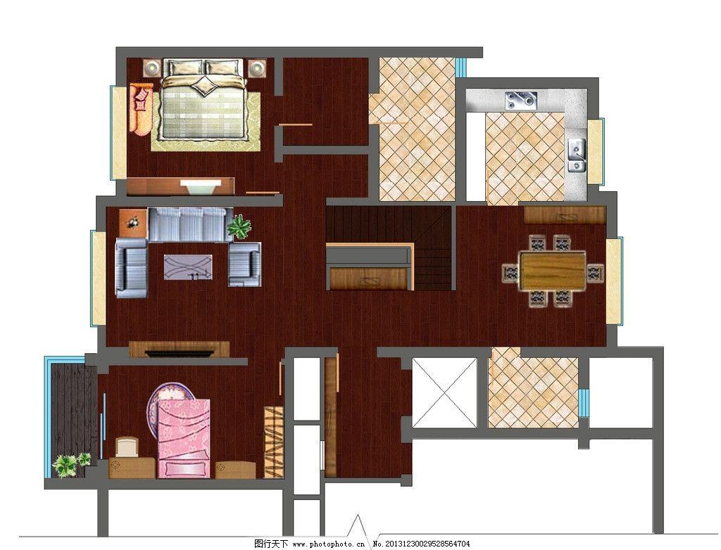 室内彩平图psd 室内设计 户型 彩色平面 家具 房地产广告 广告设计