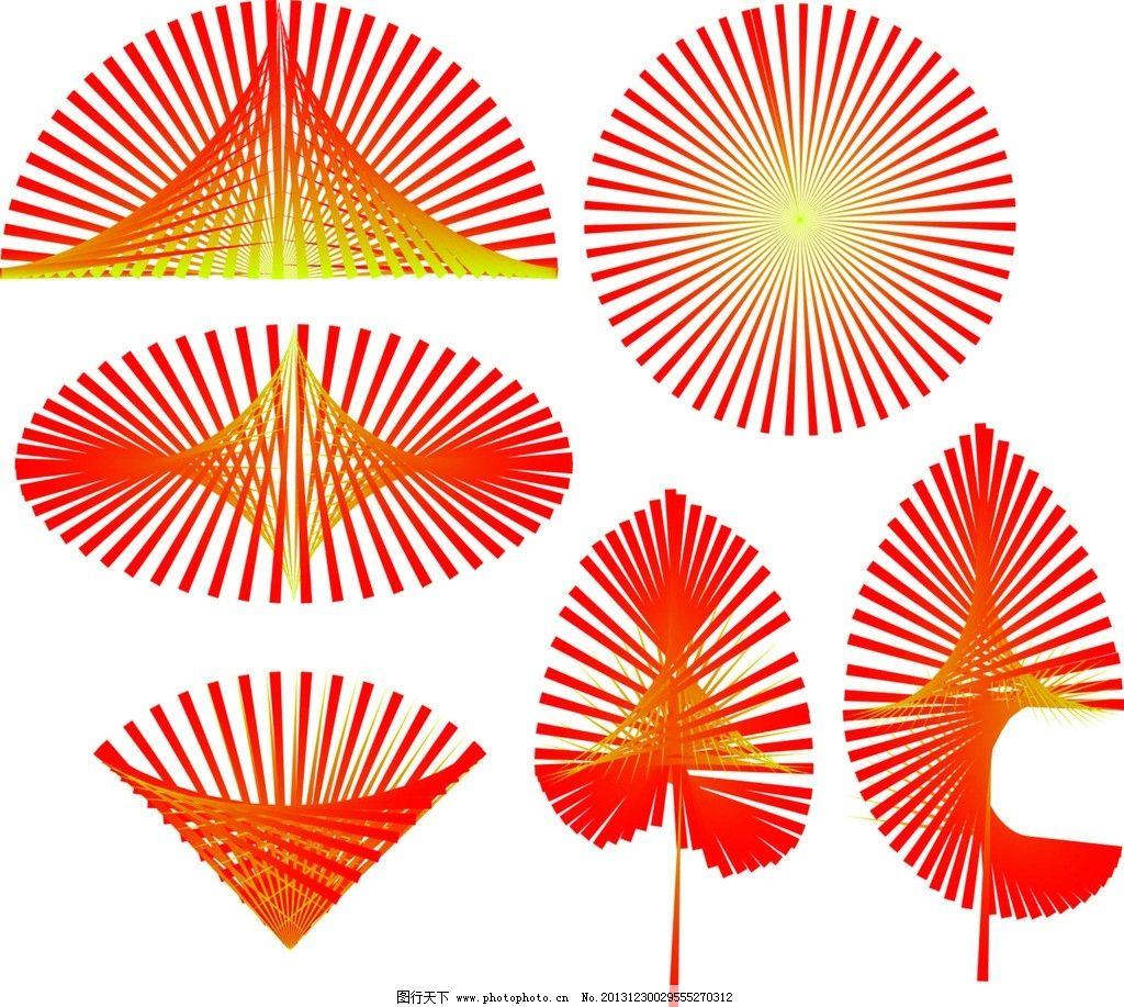 形状树叶 放射 渐变 圆形 三角形 矢量