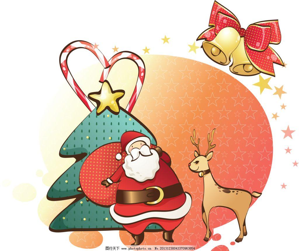 圣诞老人 手绘 圣诞树 圣诞节 圣诞礼物 鹿 铃铛 花纹 精美花纹 移门