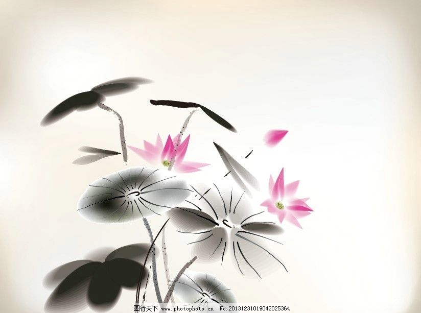 荷花 中国画 油墨画 花苞 荷叶 国画 水墨画 书法 写意画 中国风 风景