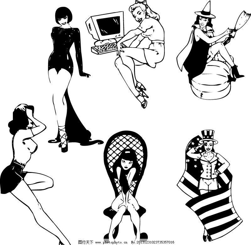 美女线条长腿白领美容spa少女手势靓女抽象妇女女性矢量人物长发唯美