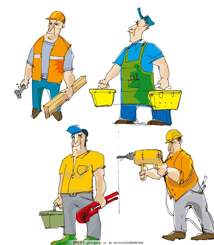 建筑工 安装工 水电维修 水电工 手绘维修工 卡通工人 可爱 维修工