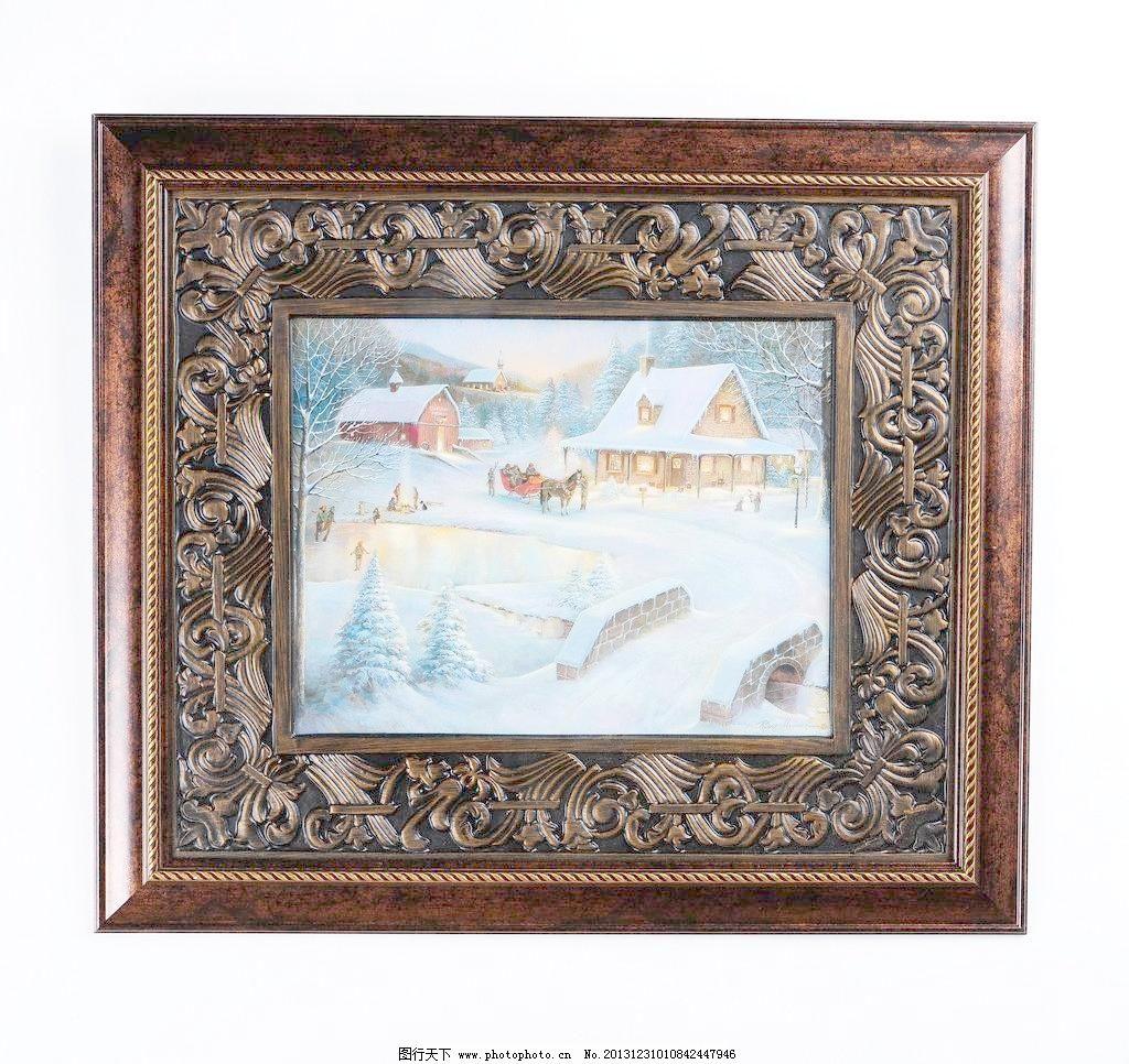 欧式 家居 工艺品 摆件 装饰物 室内物品 壁挂 相框 冬天 雪景 浮雕